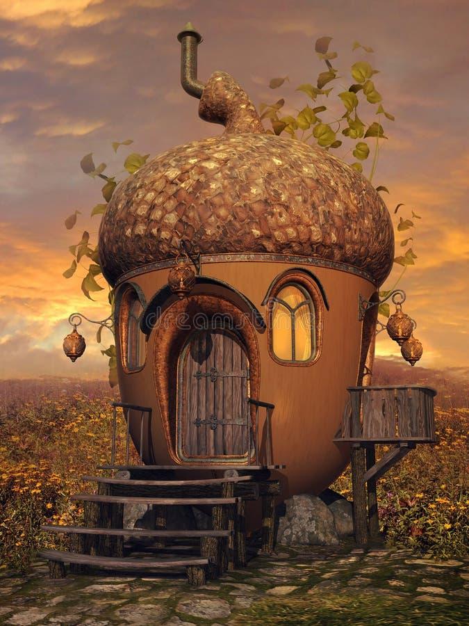Casa de campo da bolota com hera ilustração do vetor