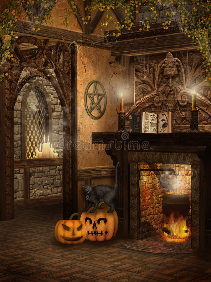 Casa de campo da bruxa com abóboras ilustração do vetor