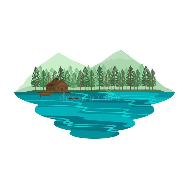 Casa de campo da cabana da cabine no lago e no verão de Mountain View e na paisagem de acampamento da mola ilustração royalty free