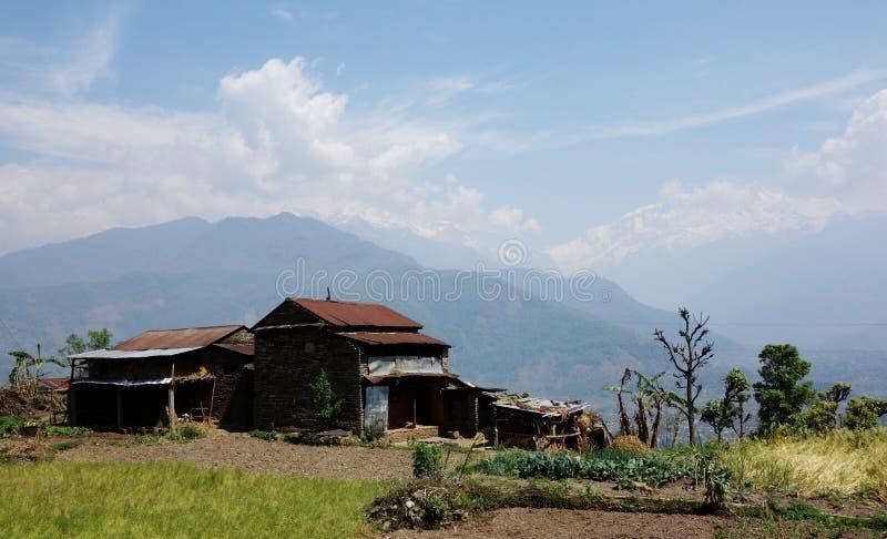 Casa de campo da montanha em Pokhara imagem de stock