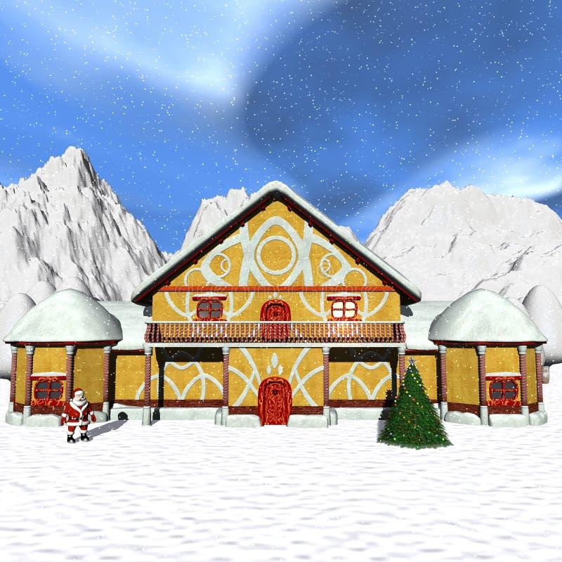 Casa de campo de Toon Santa ilustração stock