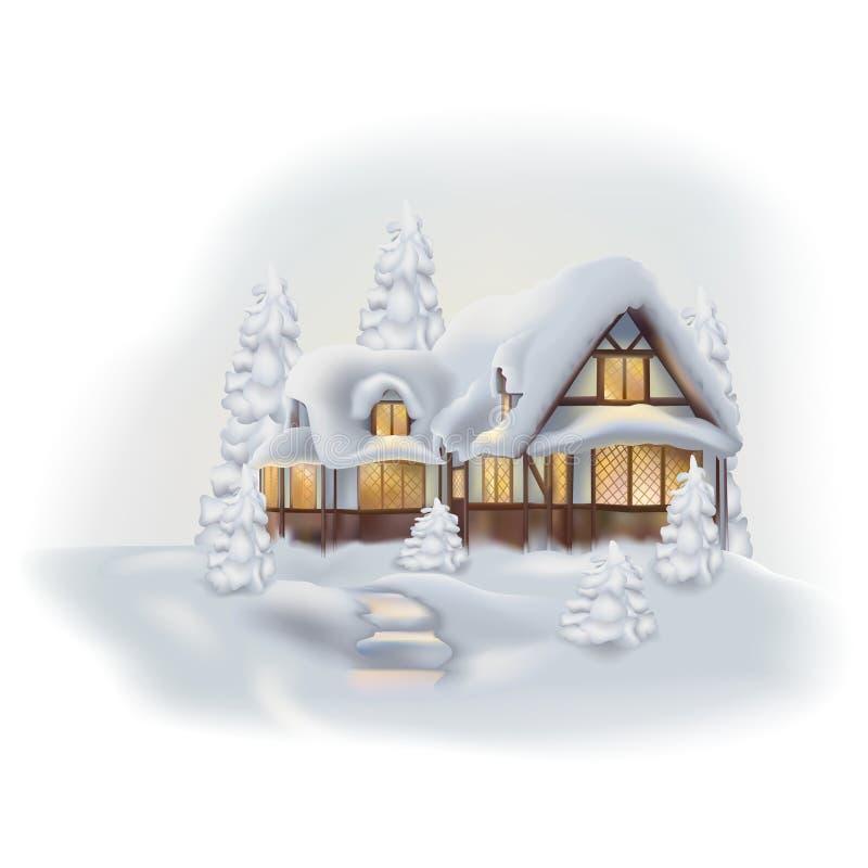 Casa de campo do inverno ilustração royalty free
