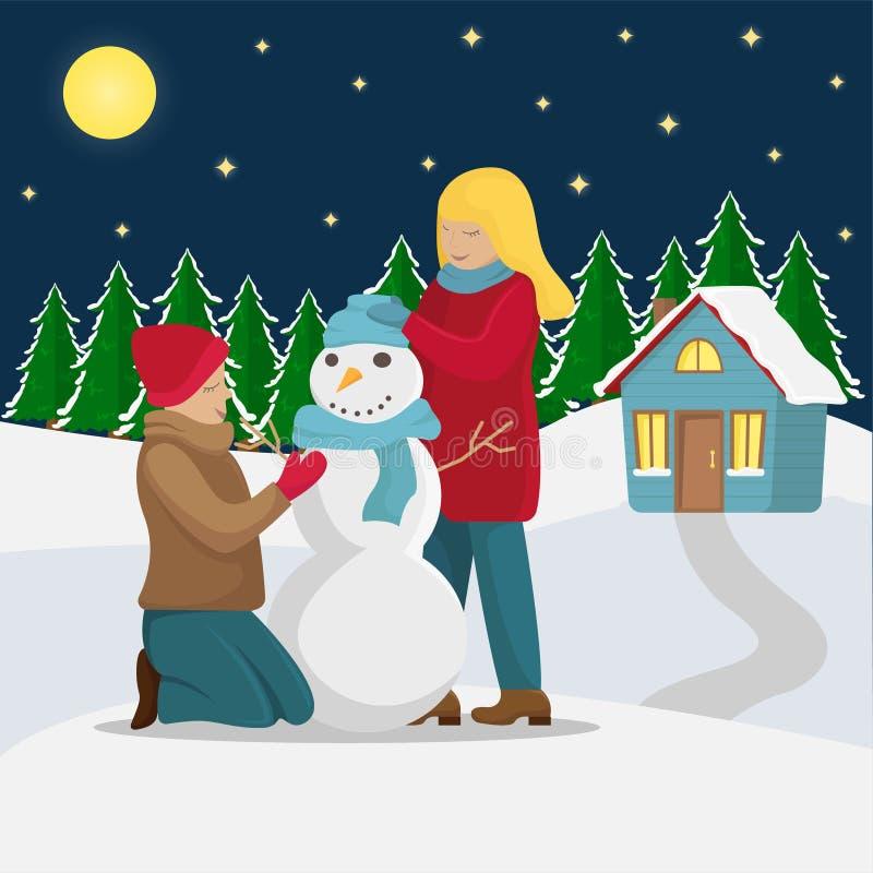 Casa de campo do Natal A família faz um boneco de neve antes do Natal ilustração royalty free