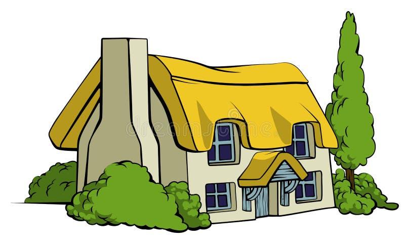 Casa de campo do país ou casa da exploração agrícola ilustração do vetor
