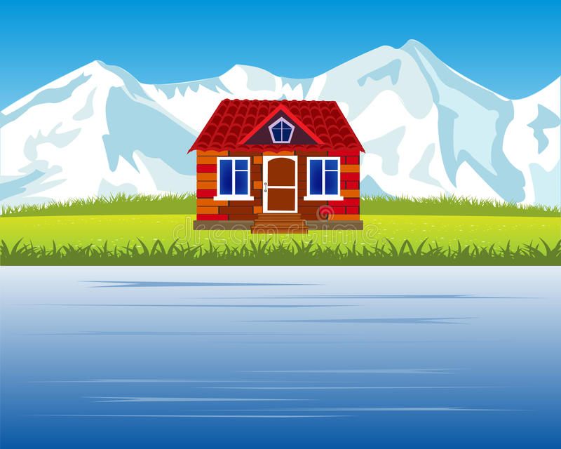 Casa de campo en la montaña alta libre illustration