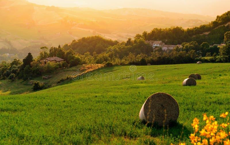 Casa de campo en la Toscana situada en una colina fotografía de archivo libre de regalías