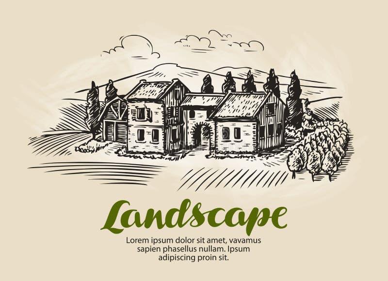 Casa de campo, esboço de construção Paisagem rural do vintage, exploração agrícola, ilustração do vetor da casa de campo ilustração do vetor