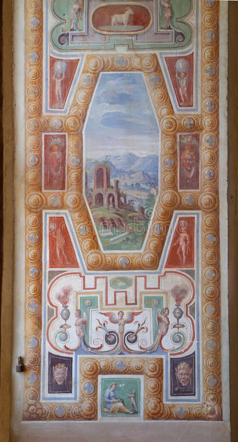 Casa de campo Farnese, Salão dos anjos fotos de stock