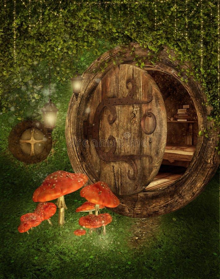 Casa de campo feericamente com cogumelos ilustração do vetor
