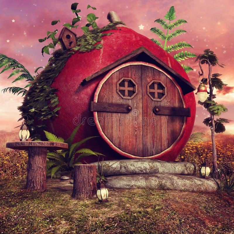 Casa de campo feericamente vermelha ilustração stock