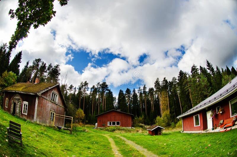 Casa de campo finlandesa tradicional fotos de stock