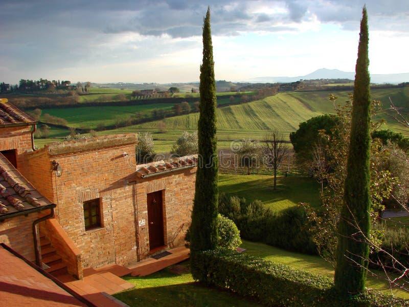 Casa de campo italiana Toscânia do país fotografia de stock