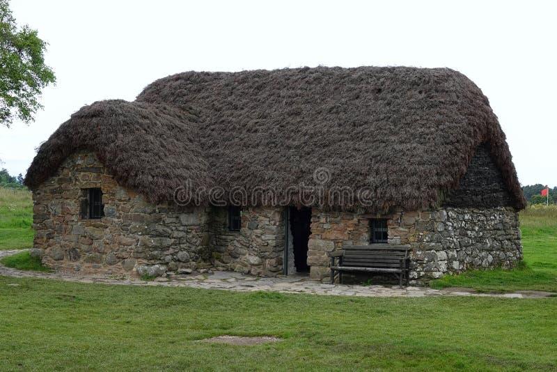 Casa de campo de Leanach no campo de batalha de Culloden, Escócia fotos de stock