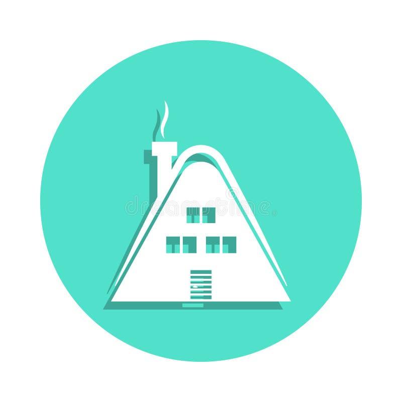 Casa de campo de madera, icono de la cabaña en estilo de la insignia Uno del icono de la colección del viaje se puede utilizar pa ilustración del vector