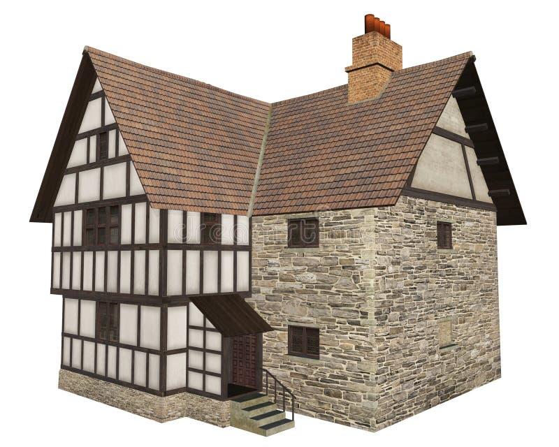 Casa de campo medieval aislada en blanco stock de ilustración