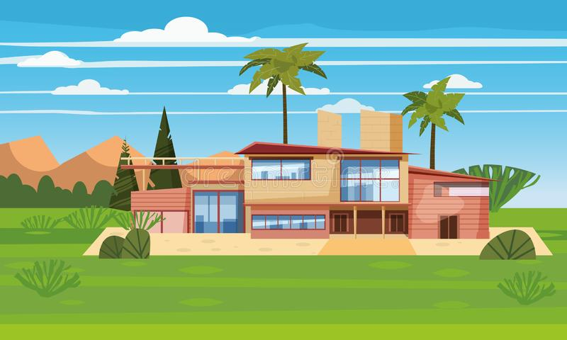 Casa de campo moderna na residência no país exótico, mansão cara em palmeiras dos trópicos do lahdscape Casa luxuosa da casa de c ilustração do vetor