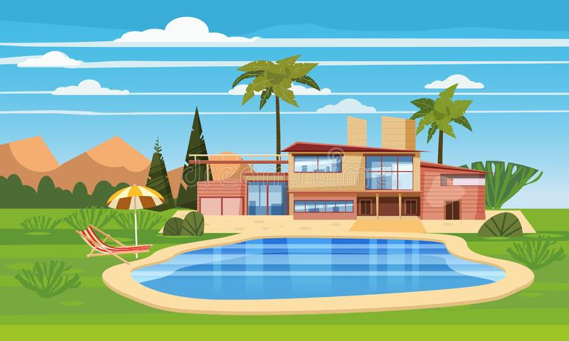 Casa de campo moderna na residência no país exótico, mansão cara em palmeiras dos trópicos do lahdscape Casa luxuosa da casa de c ilustração stock