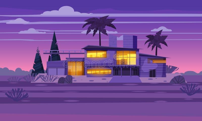 Casa de campo moderna na residência na noite exótica do país, mansão cara em palmeiras dos trópicos do lahdscape Casa de campo lu ilustração stock