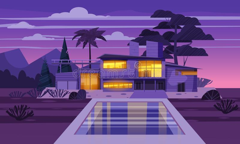 Casa de campo moderna na residência na noite exótica do país, mansão cara em palmeiras dos trópicos do lahdscape Casa de campo lu ilustração do vetor
