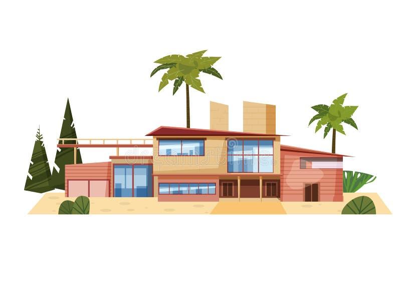 Casa de campo moderna na residência, palmeiras caras da mansão Exterior luxuoso da casa da casa de campo Ilustra??o do vetor dos  ilustração stock
