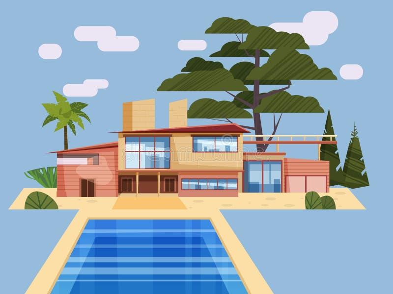 Casa de campo moderna na residência, palmeiras caras da mansão Piscina azul exterior da casa luxuosa da casa de campo cartoon ilustração stock