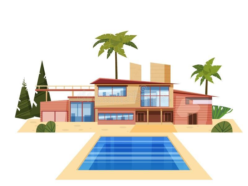 Casa de campo moderna na residência, palmeiras caras da mansão Piscina azul exterior da casa luxuosa da casa de campo cartoon ilustração royalty free