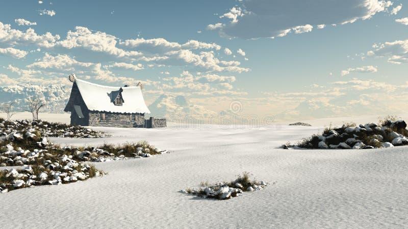 Casa de campo norueguesa da fantasia do inverno em um Landsc nevado ilustração stock