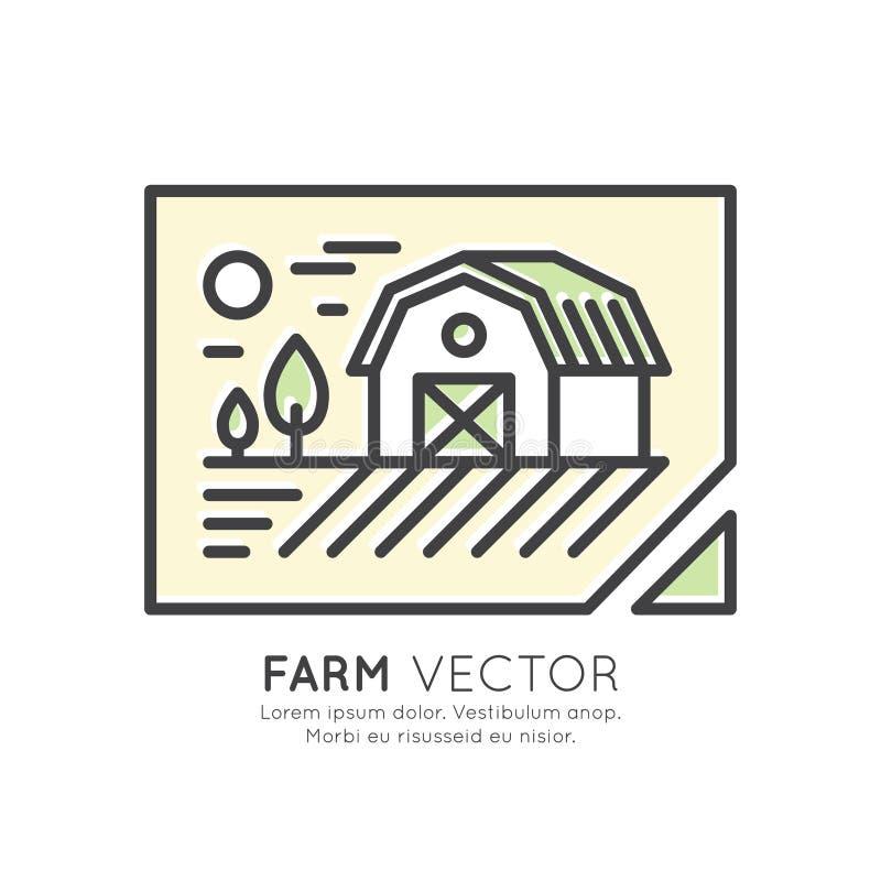 Casa de campo, paisagem da exploração agrícola, construção de armazenamento ilustração do vetor