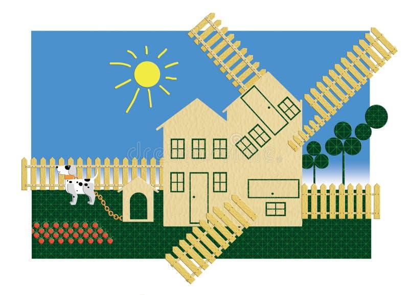 Casa de campo para varias familias Con un perro de cadena y una cama de fresas libre illustration