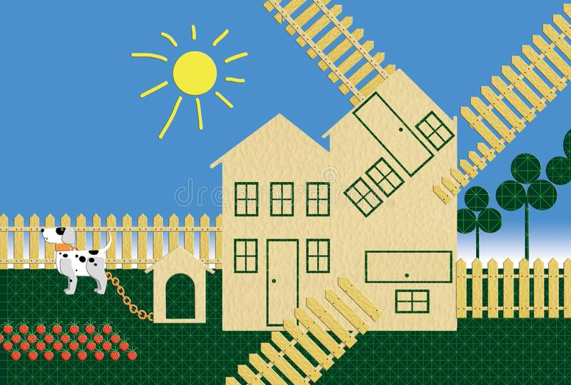 Casa de campo para varias familias Con un perro y una cama de fresas Diseño plano ilustración del vector