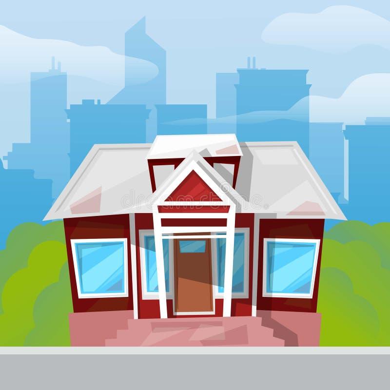 Casa de campo pequena com as janelas azuis grandes na grama verde e na ilustração azul do vetor do fundo da arquitetura da cidade ilustração stock