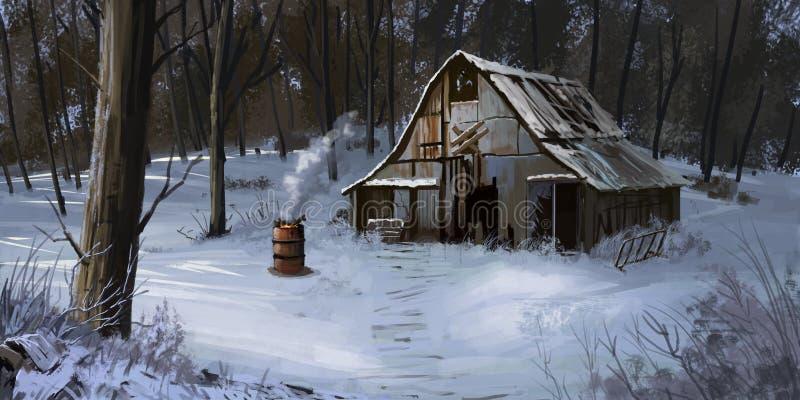 Casa de campo pequena, casa no inverno Forest Fiction Backdrop ilustração do vetor