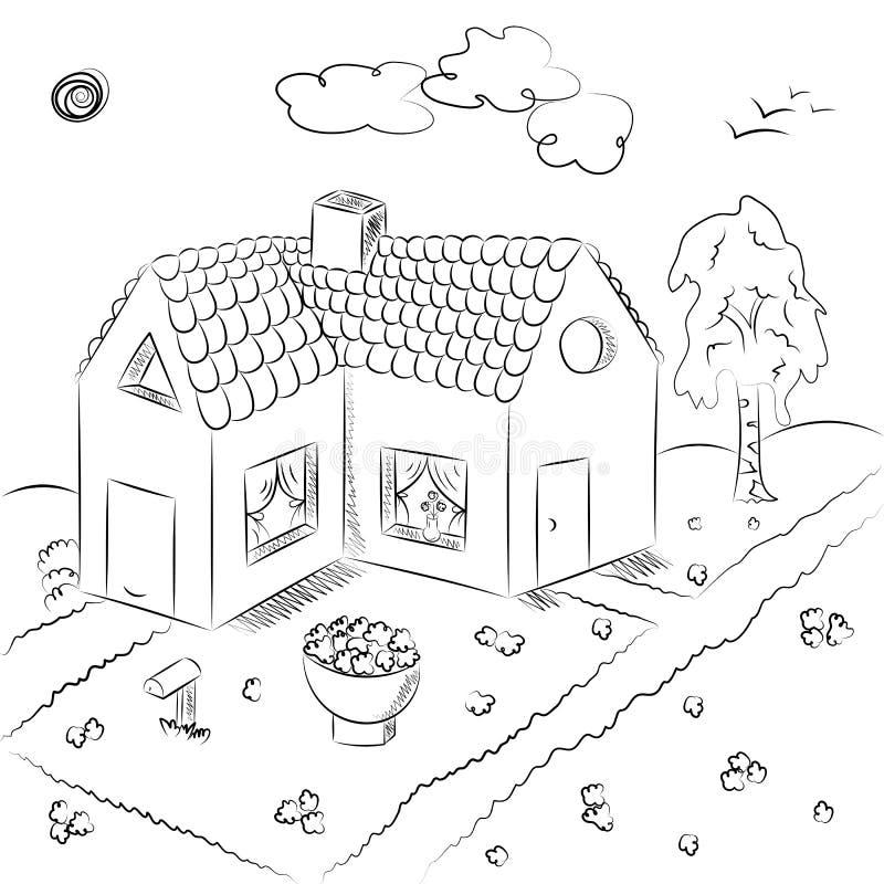 Casa de campo tirada mão no estilo da garatuja Desenhos das crianças da casa com canteiro de flores e vidoeiro ilustração do vetor