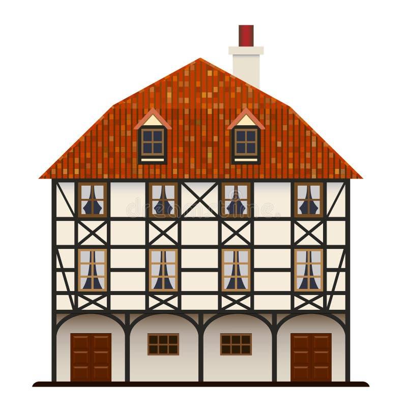 Casa de campo tradicional da casa de Fachwerk isolada ilustração do vetor