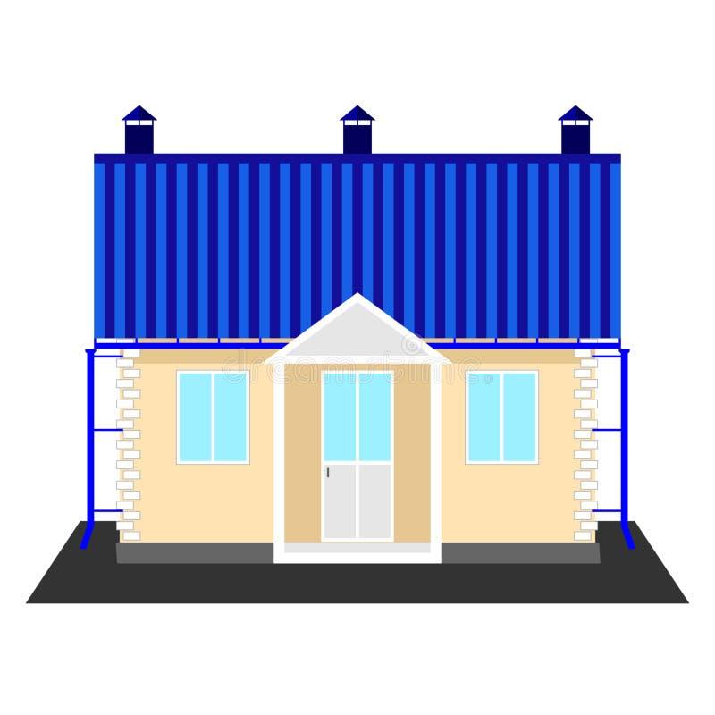 Casa de campo de un piso aislada en un fondo blanco libre illustration
