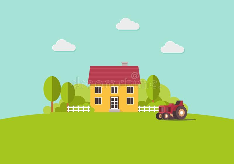 Casa de campo y tractor, paisaje del país, plantilla plana de moda del diseño del vector del estilo stock de ilustración