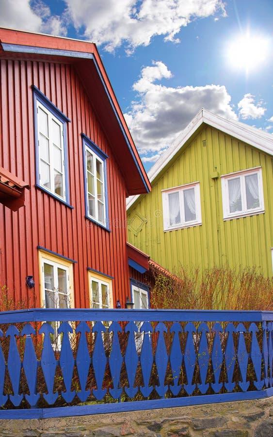 Casa de cidade em Noruega fotografia de stock royalty free