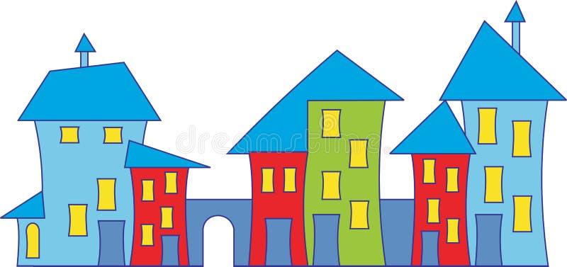 Casa de ciudad de la historieta ilustración del vector