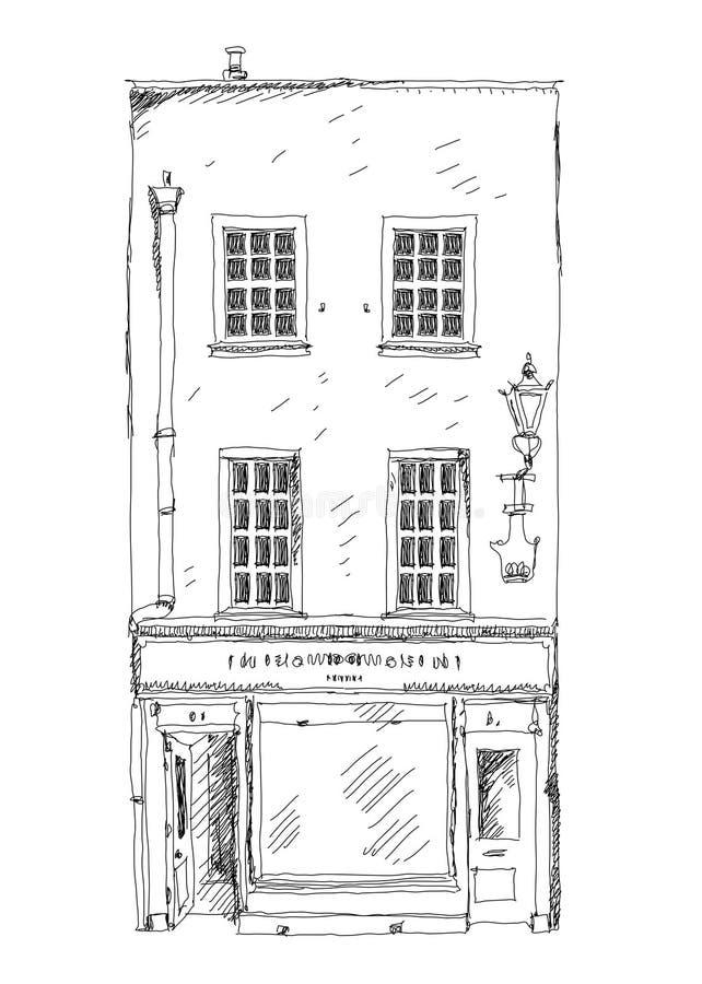 Casa de ciudad inglesa vieja con la pequeña tienda o negocio en la planta ilustración del vector