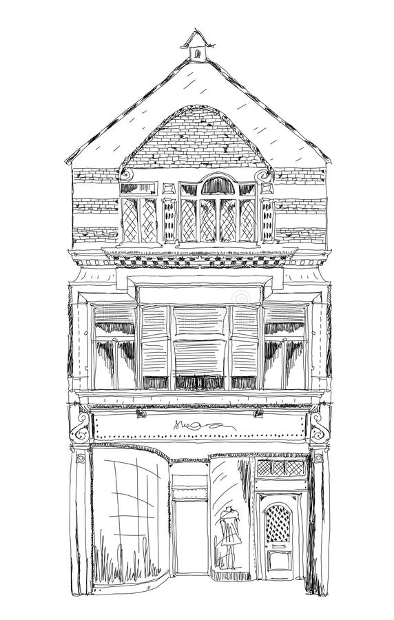 Casa de ciudad inglesa vieja con la pequeña tienda o negocio en la planta Calle en enlace, Londres bosquejo stock de ilustración