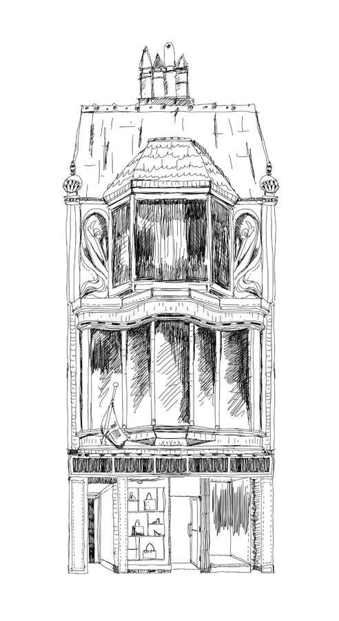 Casa de ciudad inglesa vieja con la pequeña tienda o negocio en la planta Calle en enlace Londres Colección del bosquejo ilustración del vector