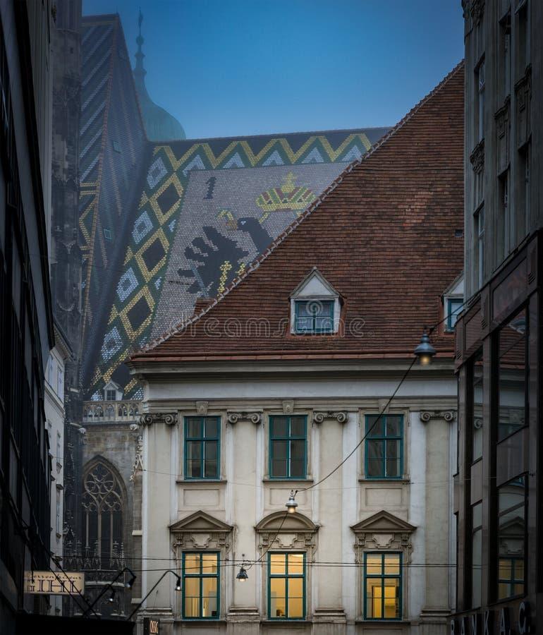 Casa de ciudad y tejado viejos de Stephansdom en Viena fotos de archivo