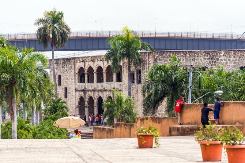 A casa de Columbo, a primeira construção de pedra construída em Santo Domingo, República Dominicana Copie o espaço para o texto foto de stock