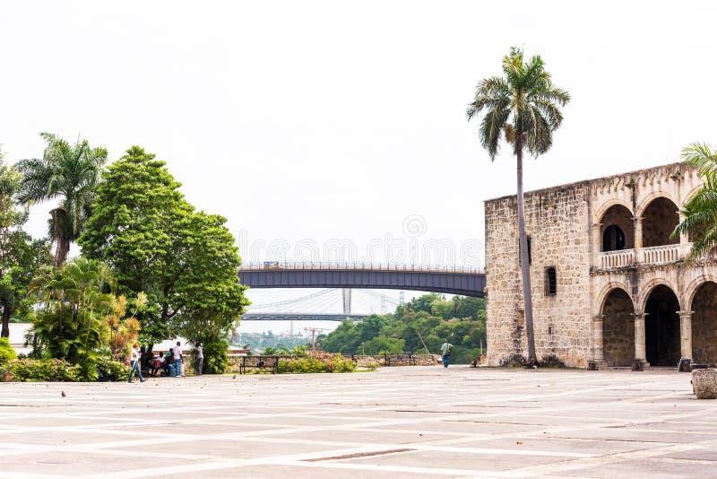 A casa de Columbo, a primeira construção de pedra construída em Santo Domingo, República Dominicana Copie o espaço para o texto fotos de stock