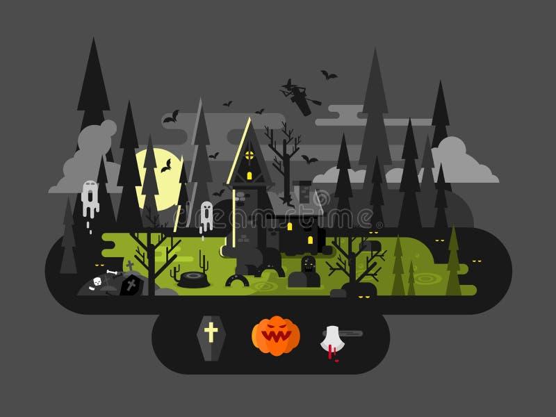 Casa de Dia das Bruxas na noite ilustração do vetor