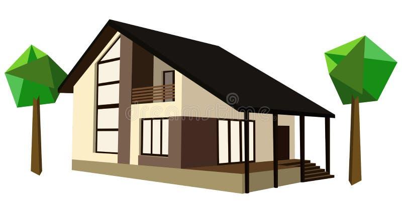 Casa de dos pisos ilustración del vector