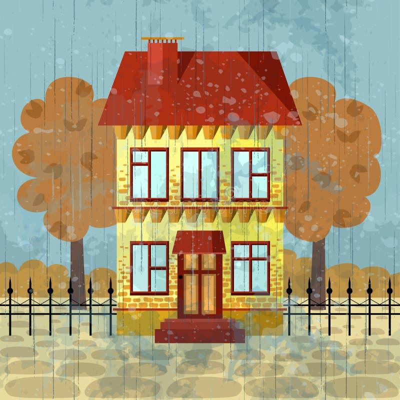 Casa de dos pisos amarilla con el tejado rojo stock de ilustración