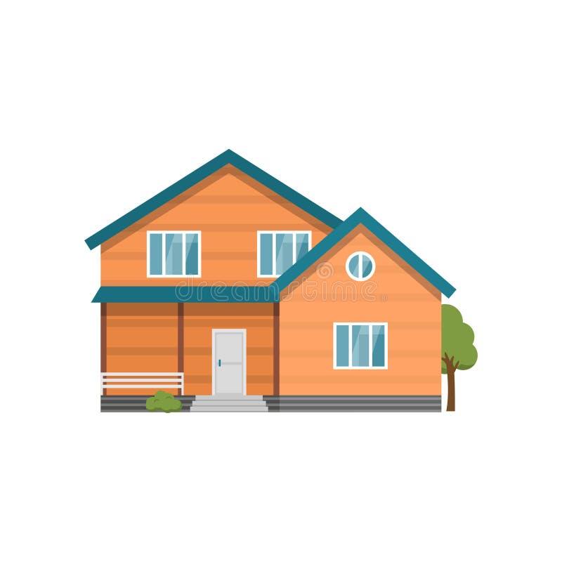 Casa de dos pisos con la terraza aislada en el fondo blanco stock de ilustración