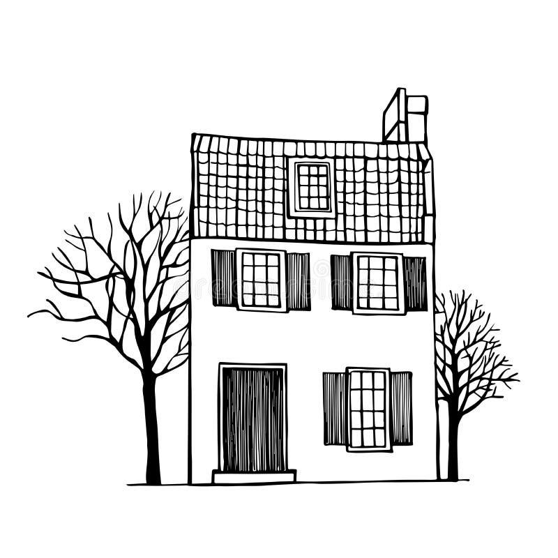 Casa de dos pisos con un tejado tejado libre illustration