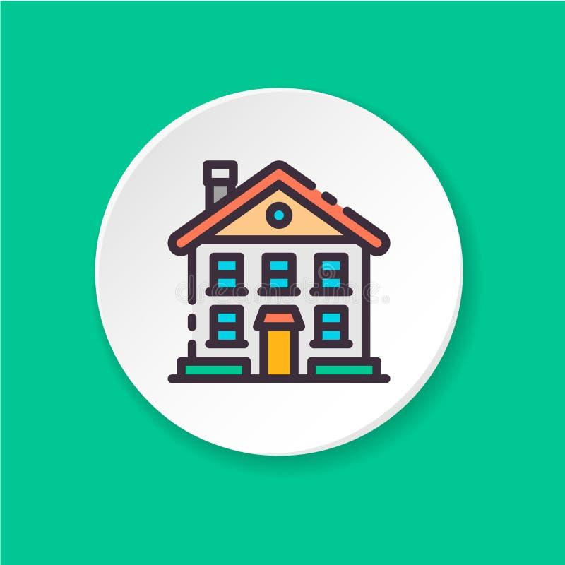 Casa de dos pisos del icono plano Interfaz de usuario de UI/UX ilustración del vector